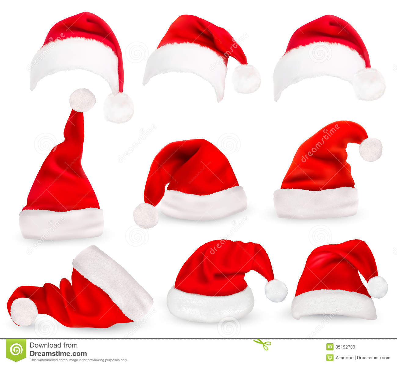 Collection of red santa hats stock vector image