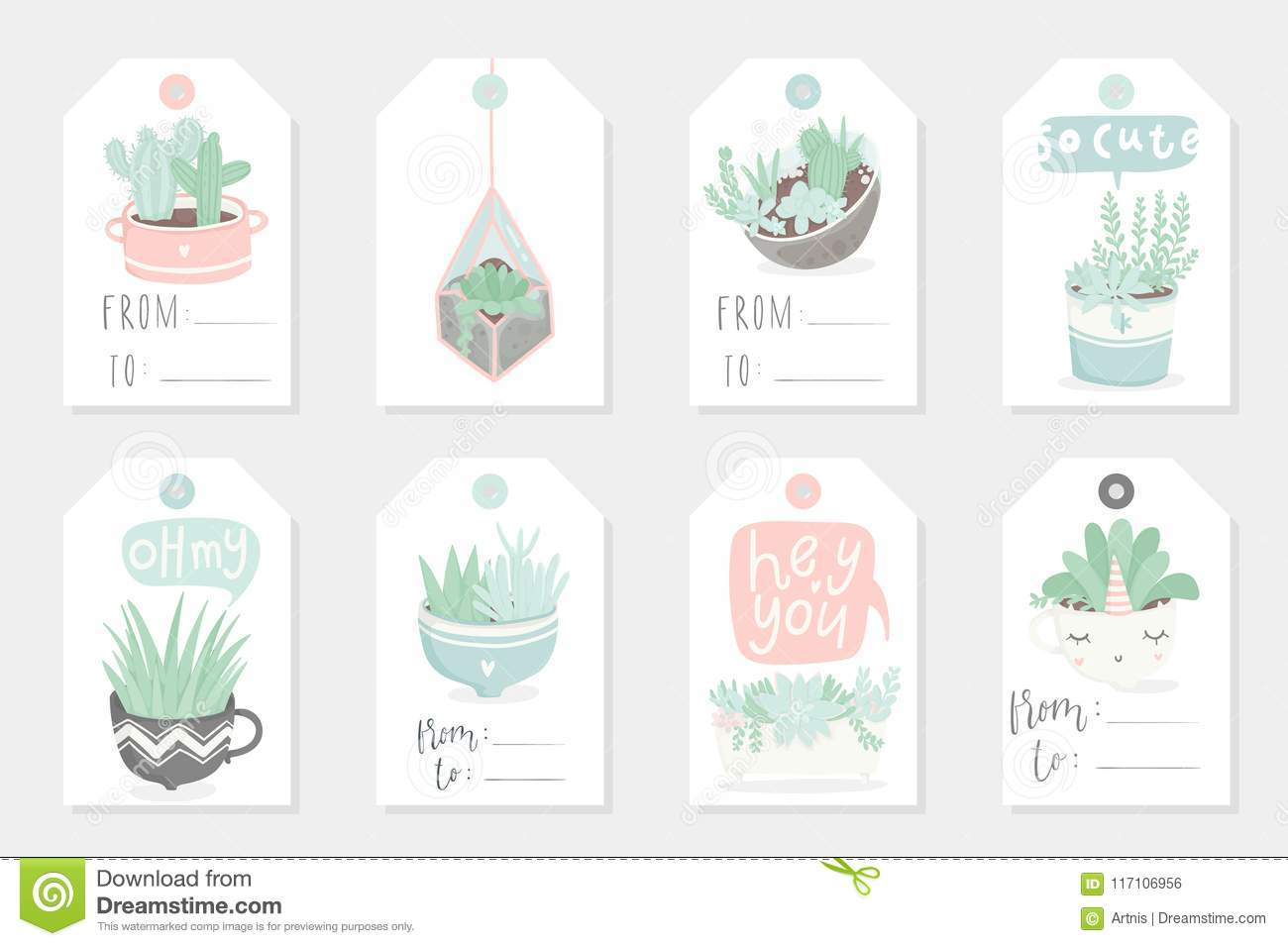 Collection Of Redy To Use Gift Summer Tags Cards And Stickers With Succulents Stock Vector Illustration Of Collection Cute 117106956