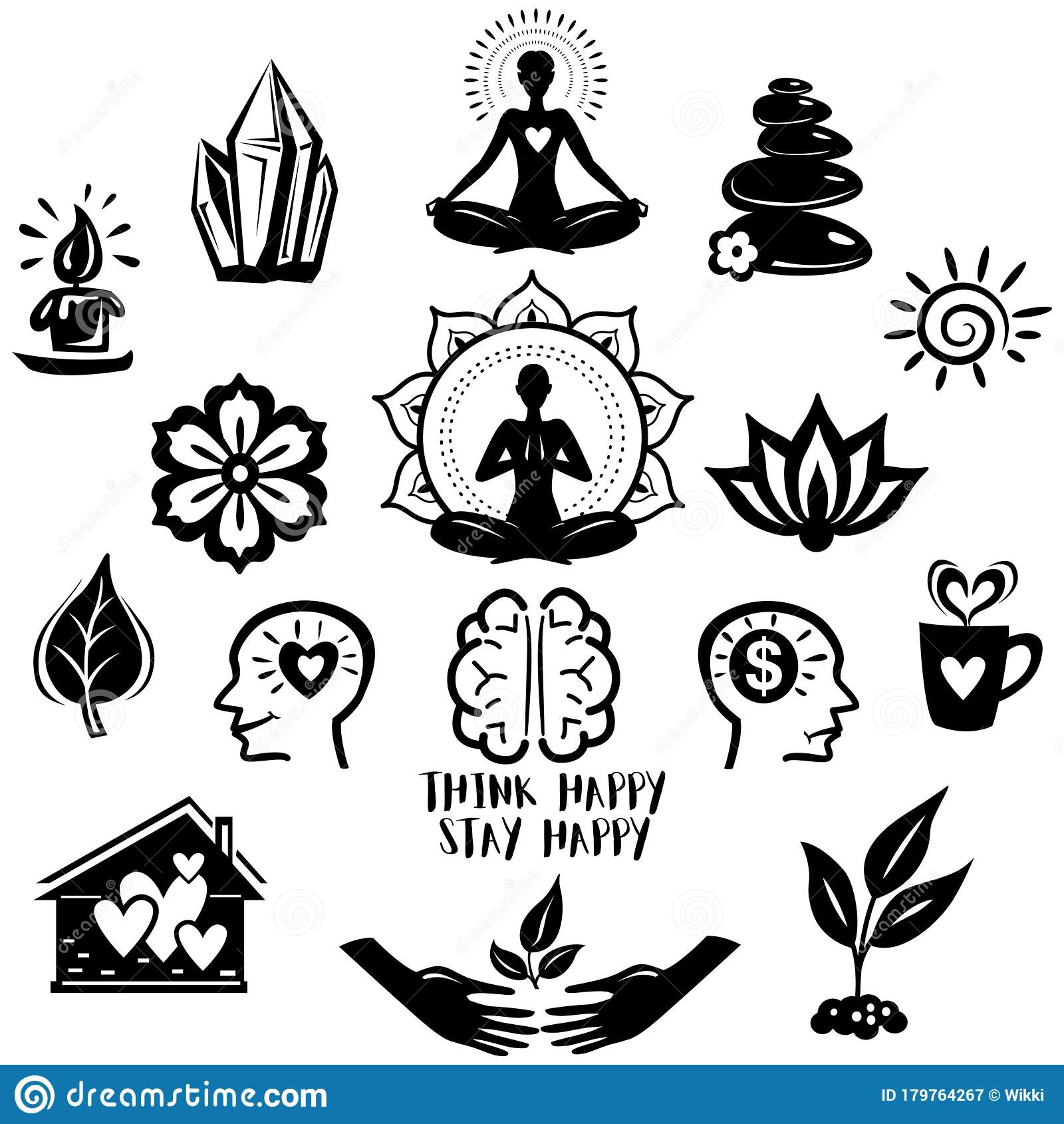Collection Of Relaxation And Meditation And Yoga Symbols Stock Vector Illustration Of Meditation Home 179764267