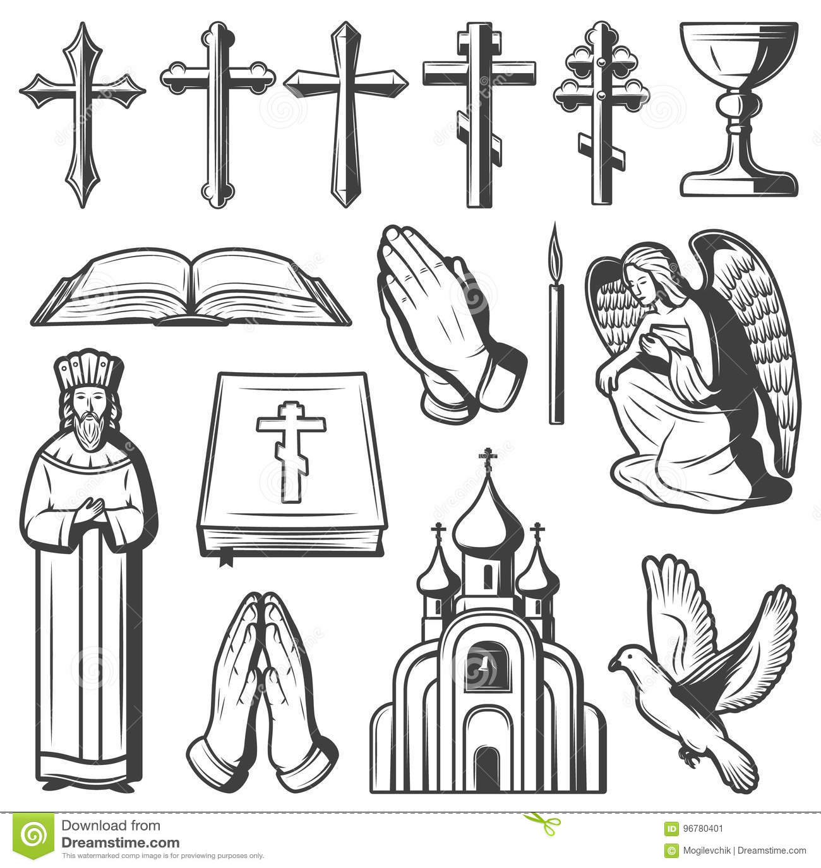 Collection religieuse d éléments de vintage