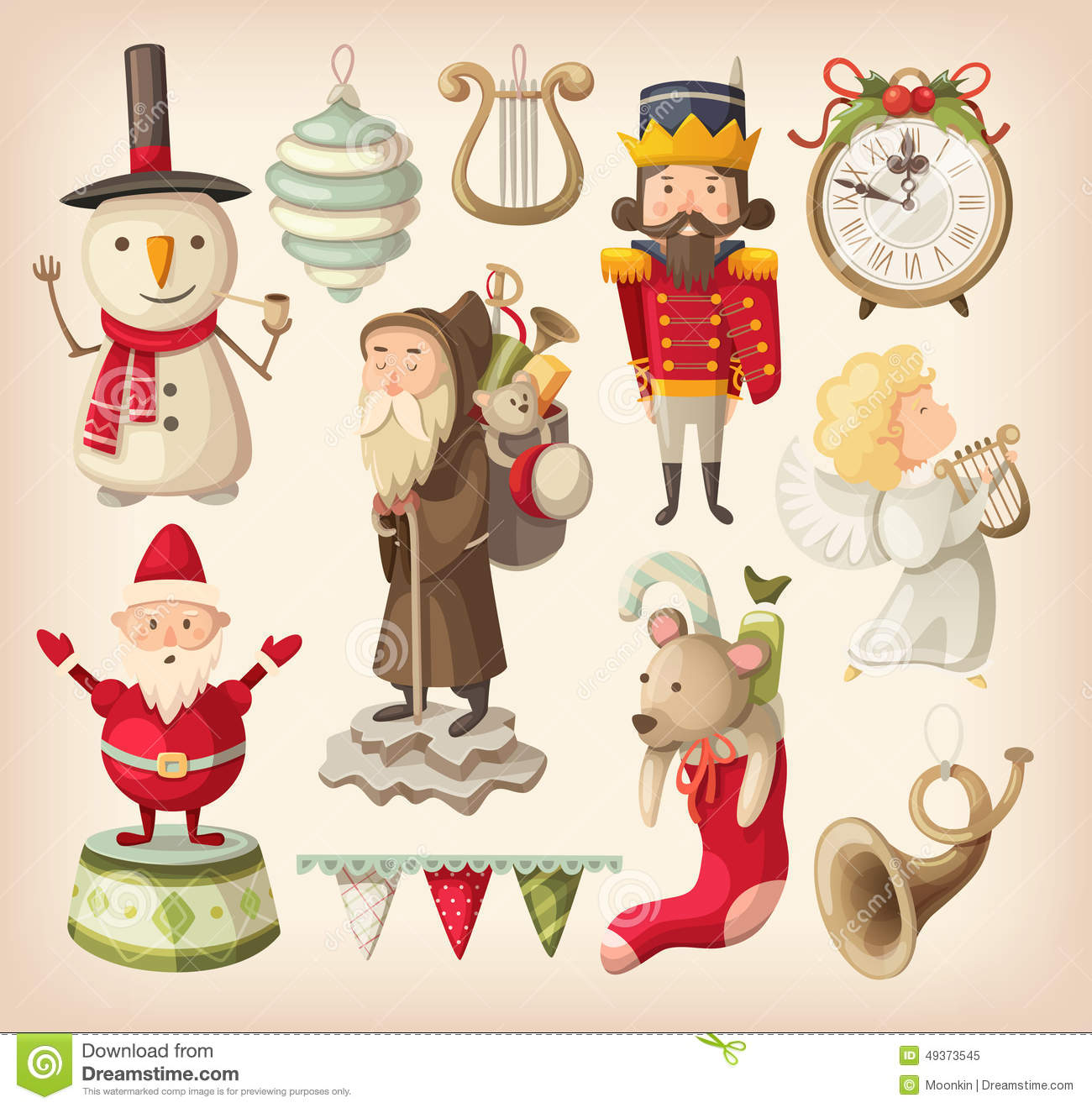 Retro Christmas Toy : Collection of retro christmas toys stock vector image