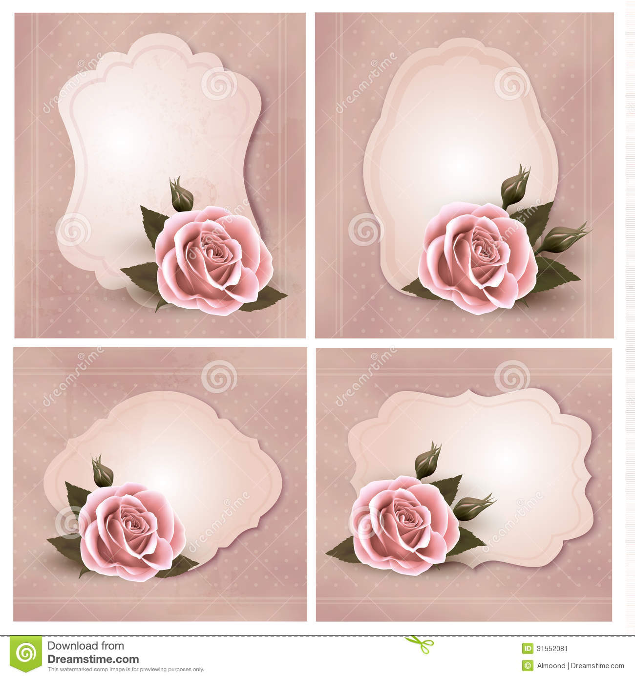 Collection Of Retro Greeting Cards With Pink Rose Stock Vector