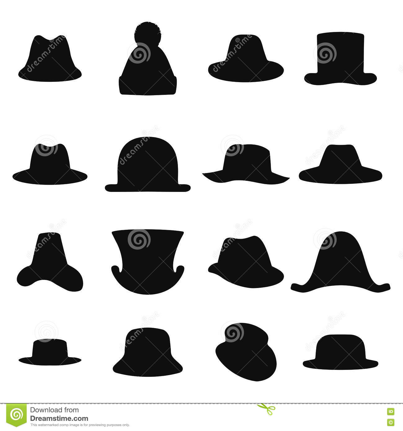a72e776f Collection of retro hats silhouette. Top hat on white. Vector illustration