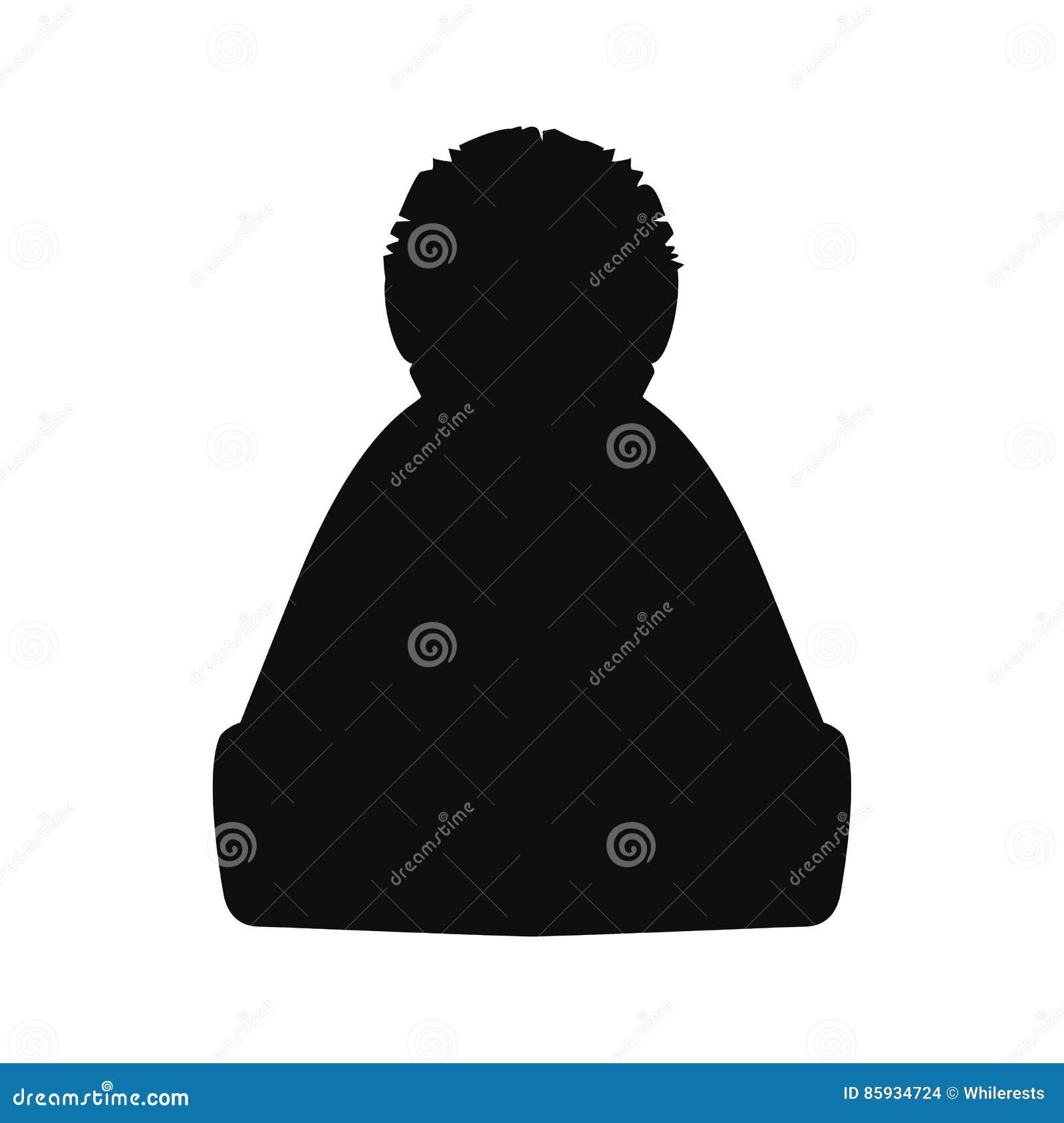 dc4d6229318 Winter hat silhouette. Top black hat on white. Vector illustration eps10.  More similar stock illustrations