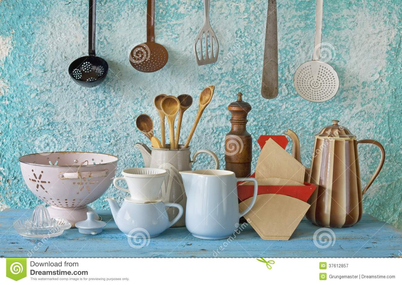 Collection of retro kitchenware & Collection Of Retro Kitchenware Stock Image - Image of domestic ...