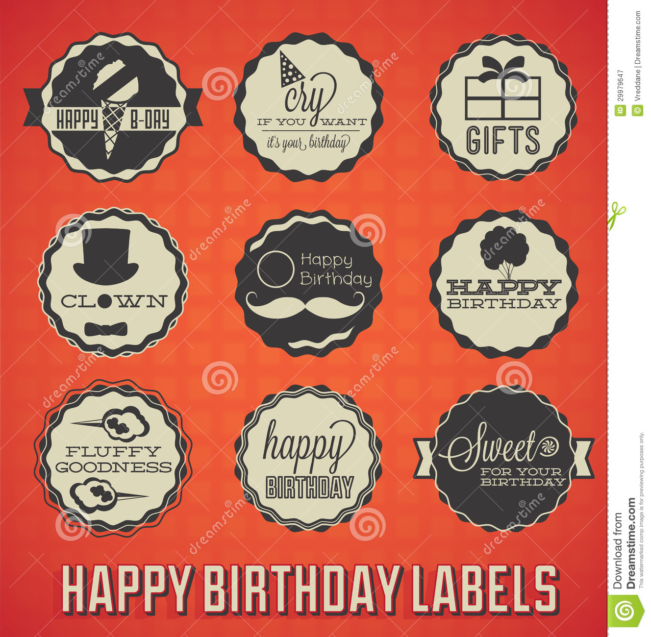 Retro happy birthday vector happy birthday vintage card with - Happy Birthday Labels And Icons Royalty Free Stock