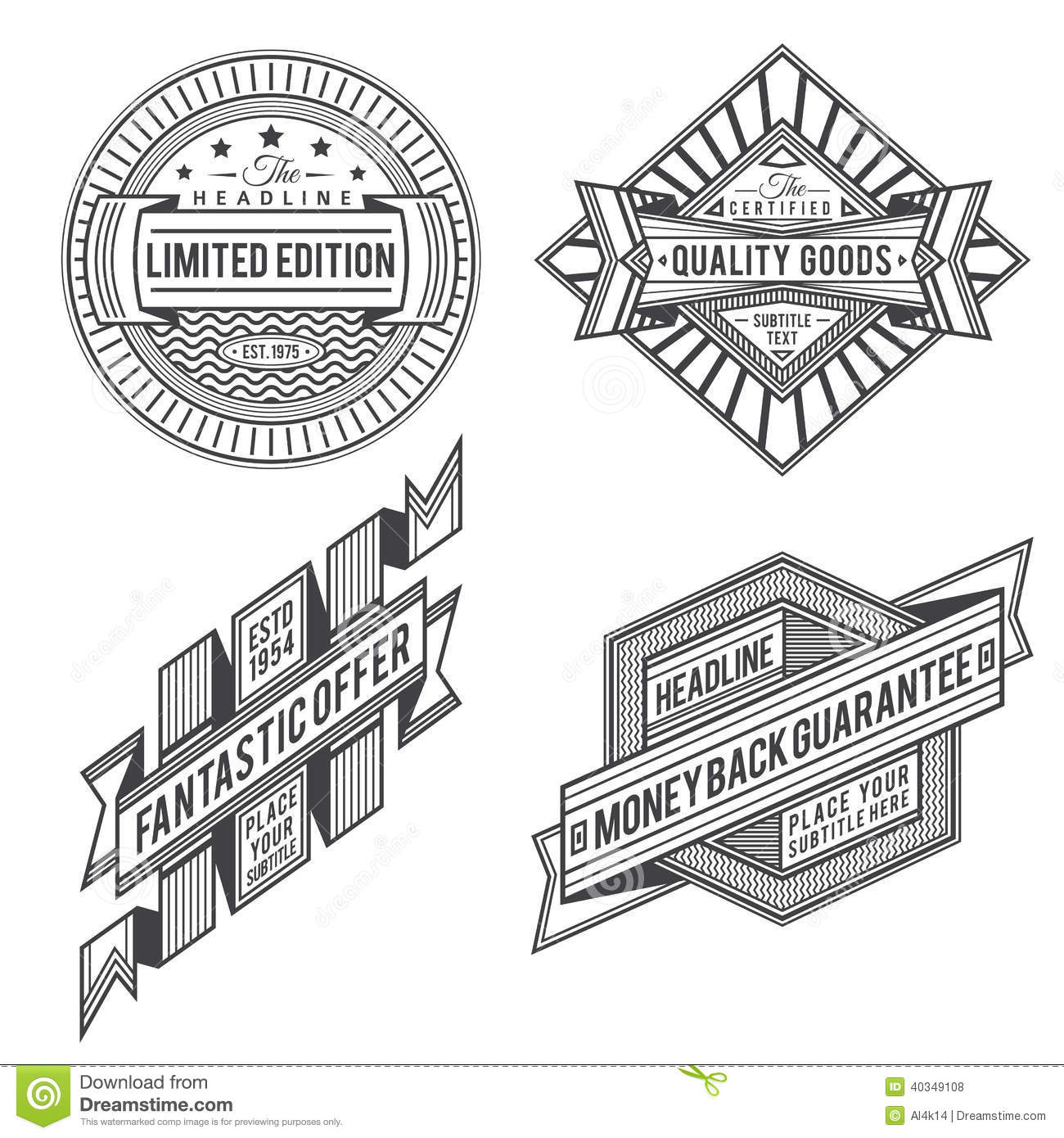 Collection Of Retro Vintage Style Labels And Banners Stock