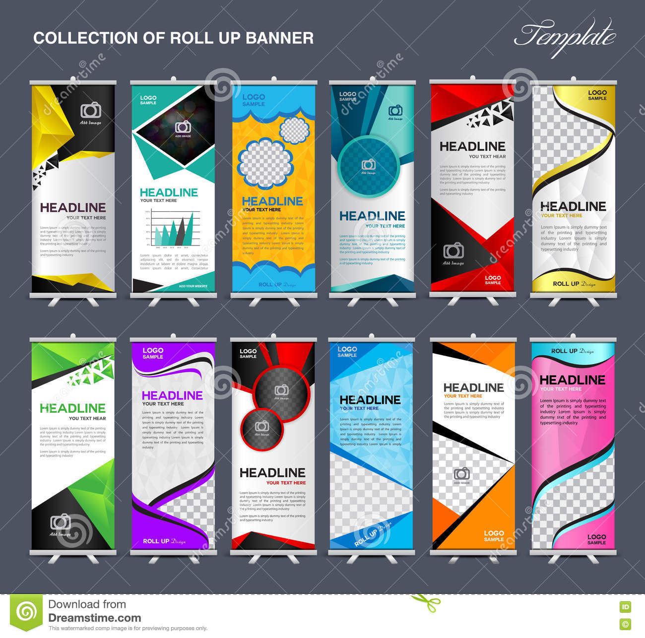 Collection of Roll Up Banner Design stand template vector illustration