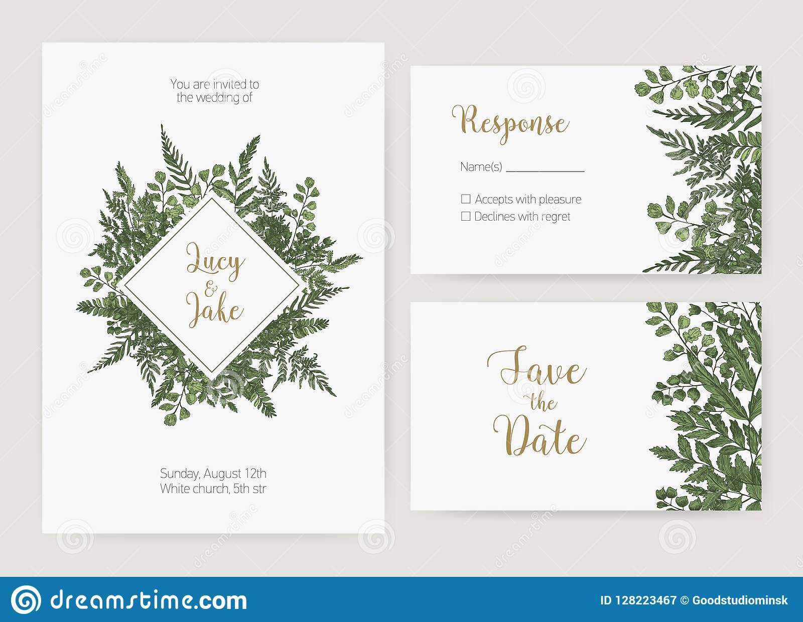 collection of romantic wedding invitation  save the date