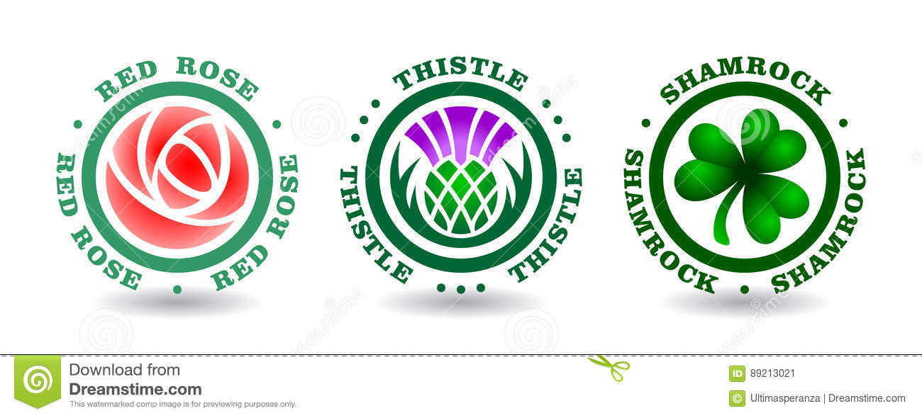 Collection Of Round Logotypes With Rose Thistle Shamrock National