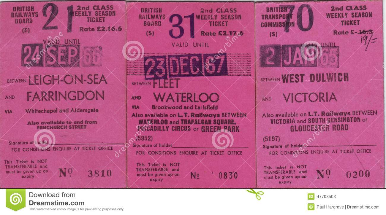 Collection Of 1960`s British Railway Tickets Stock Image - Image of