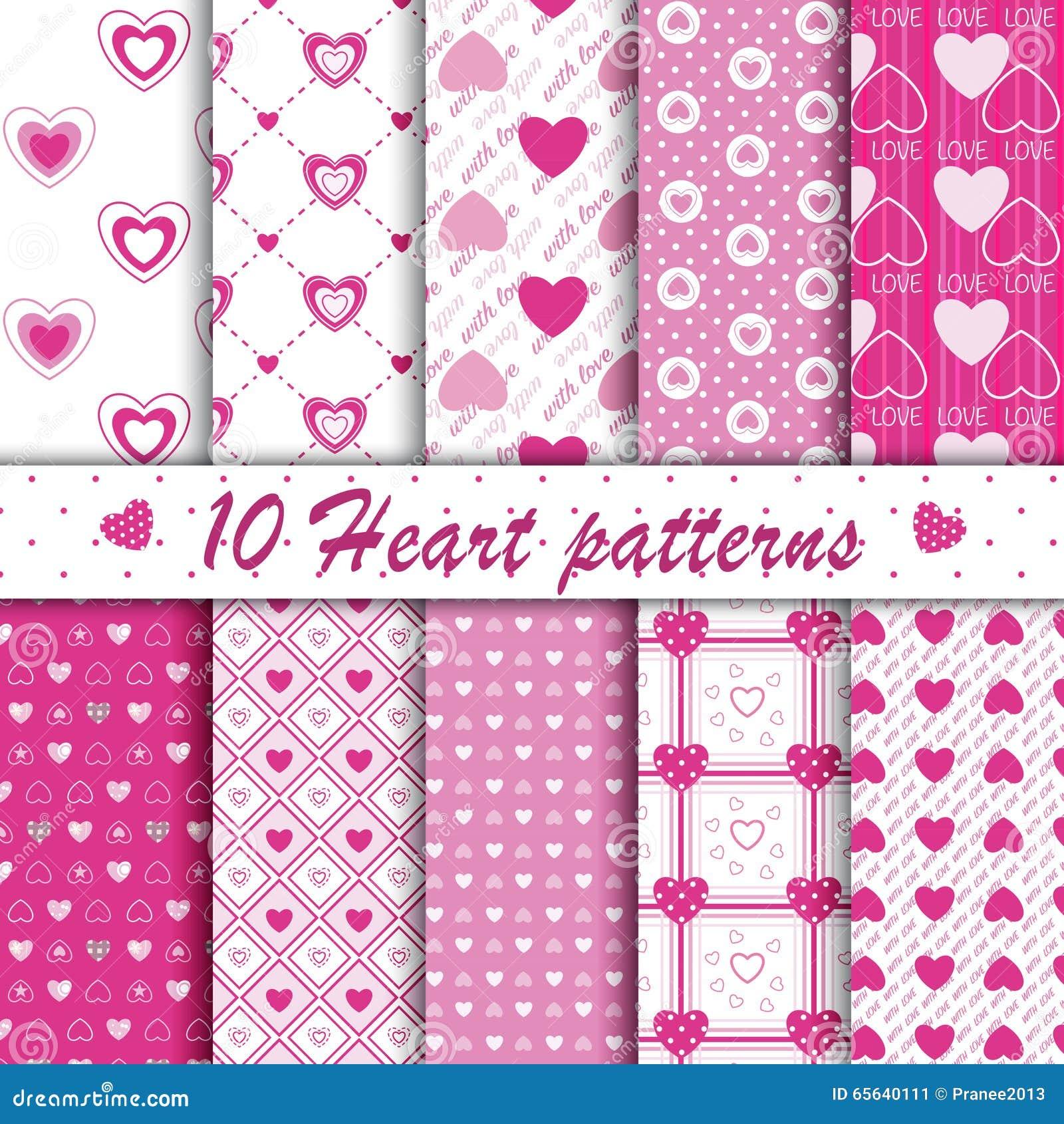 Collection sans couture de 10 modèles de forme rose de coeur