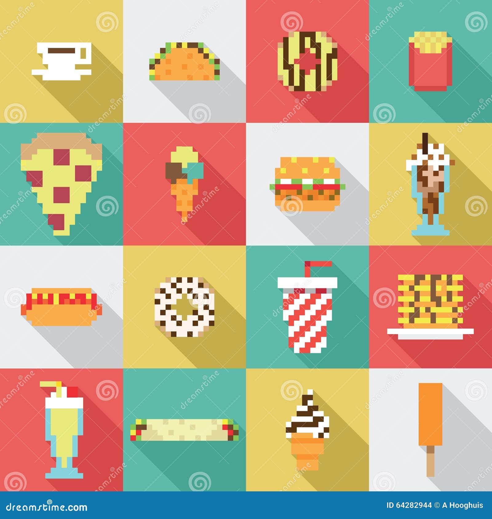 Modèles Dart De Pixel De Nourritures De Kawaii Reurerobundml