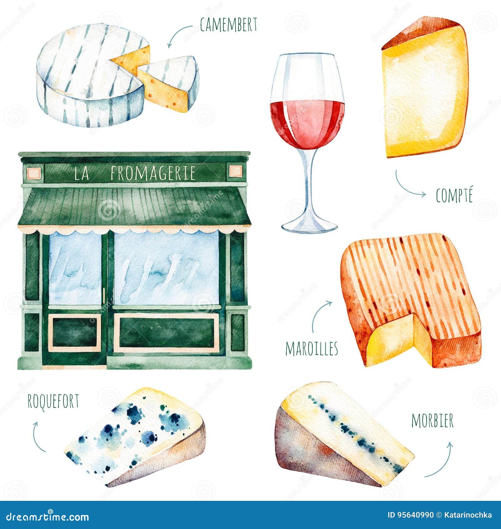 Collection savoureuse d aquarelle avec du fromage français différent