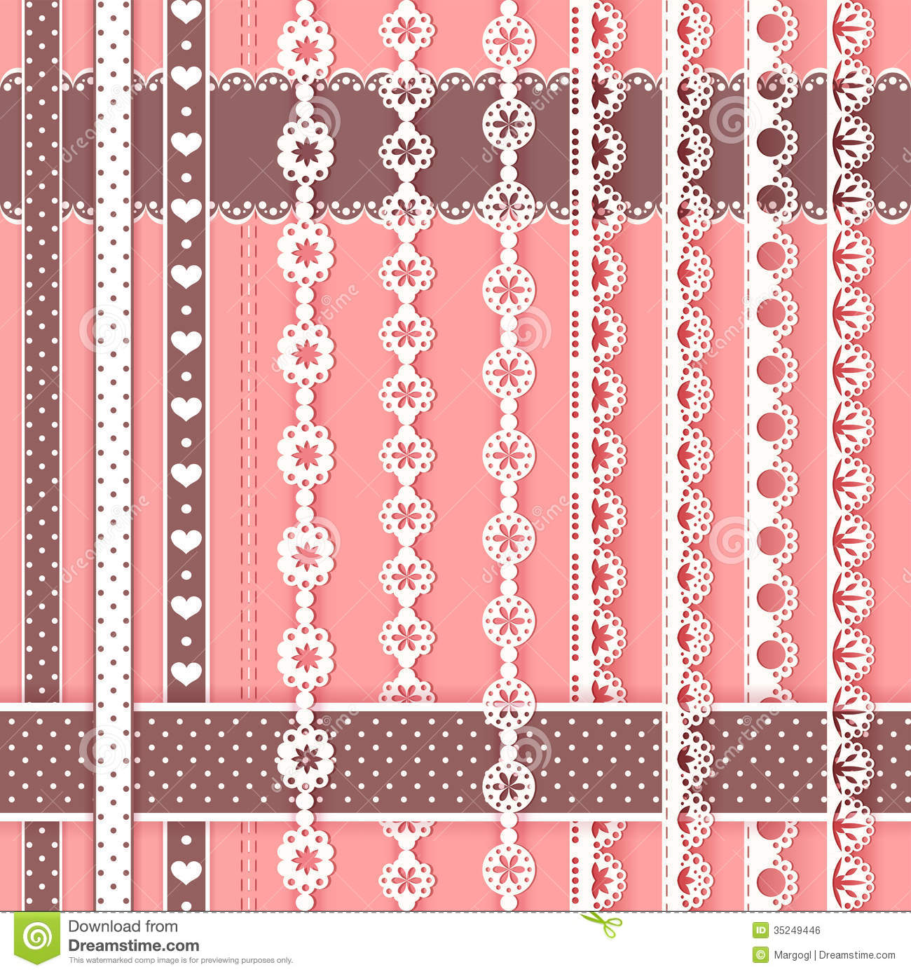 Collection For Scrapbook. Borders. Royalty Free Stock Image - Image: 35249446