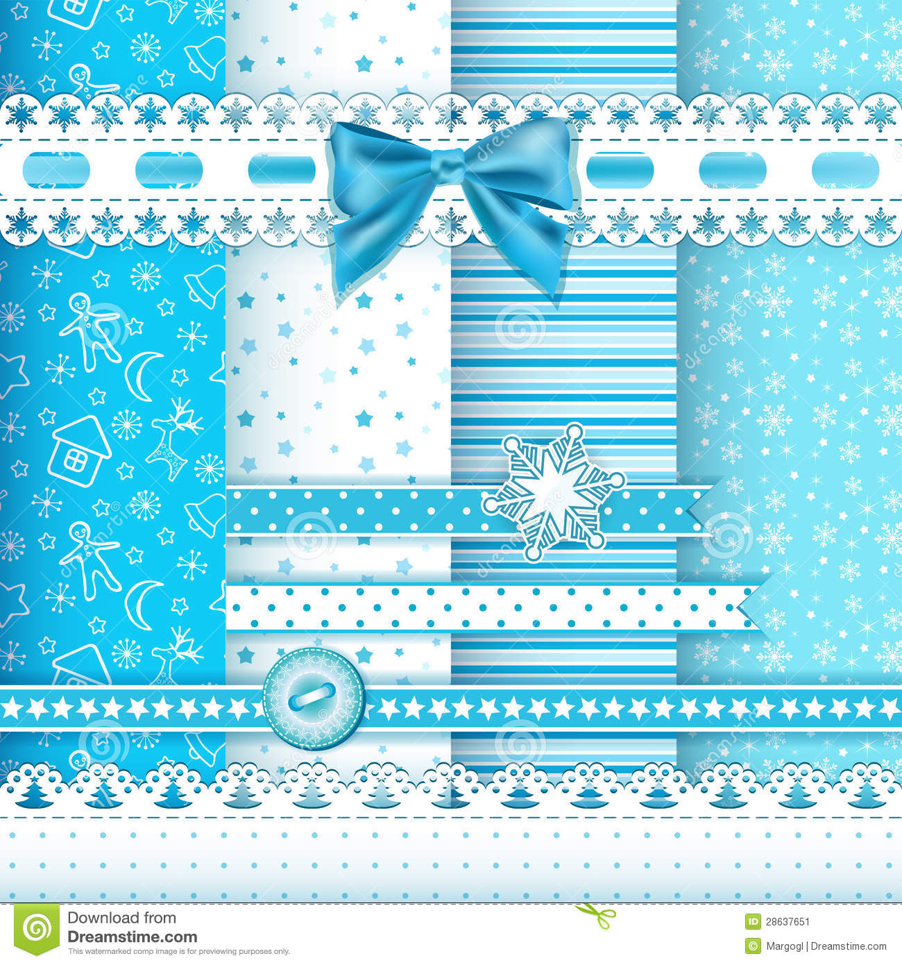 Collection For Scrapbook Patterns Blue 1 Stock Image