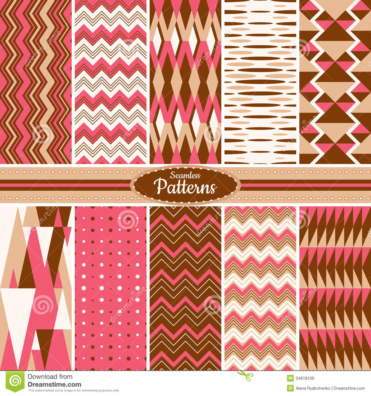 Wallpapers In Home Interiors: Collection Of Seamless Pattern Backgrounds Royalty Free