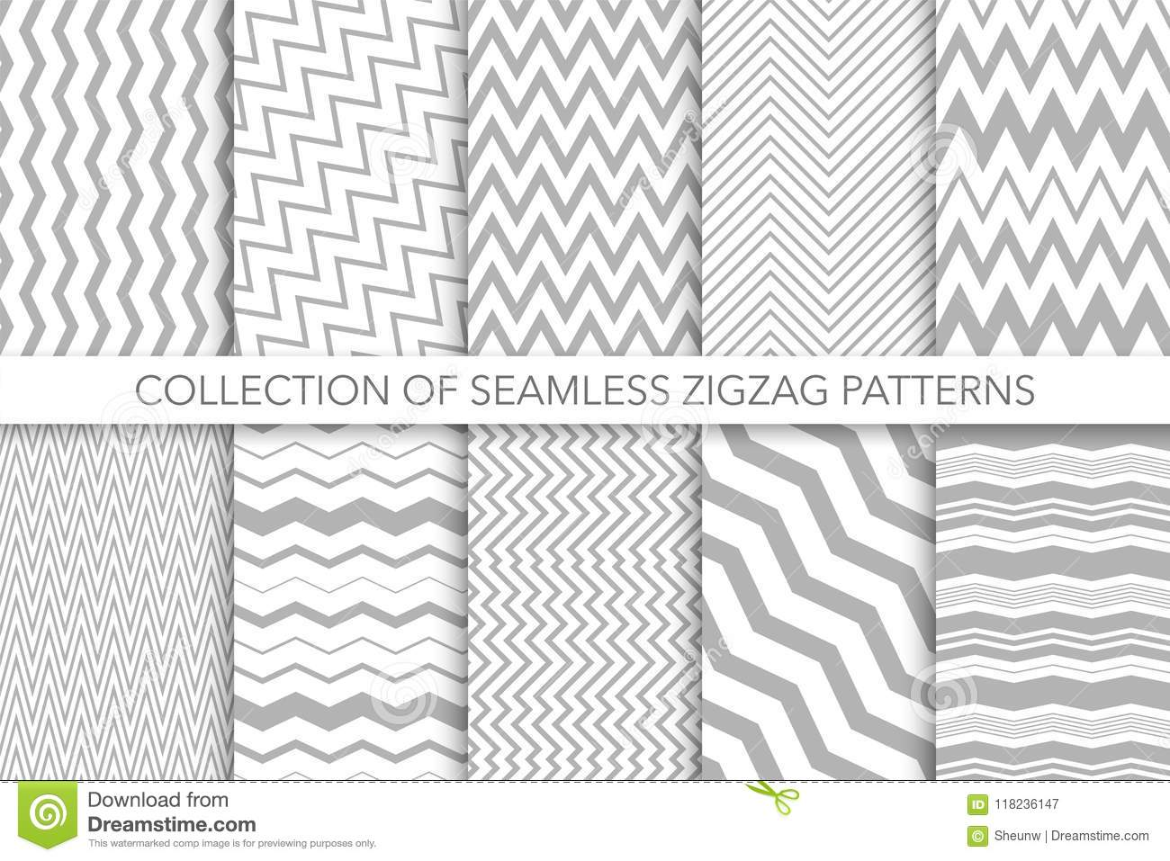 Collection of seamless zigzag patterns - vector geometric design. Classic striped textures.