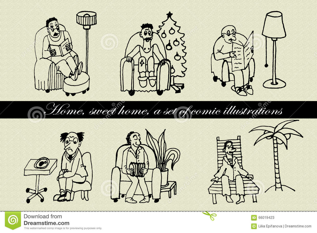 Collection set of comic characters men sitting in a chair hand drawn comic illustration