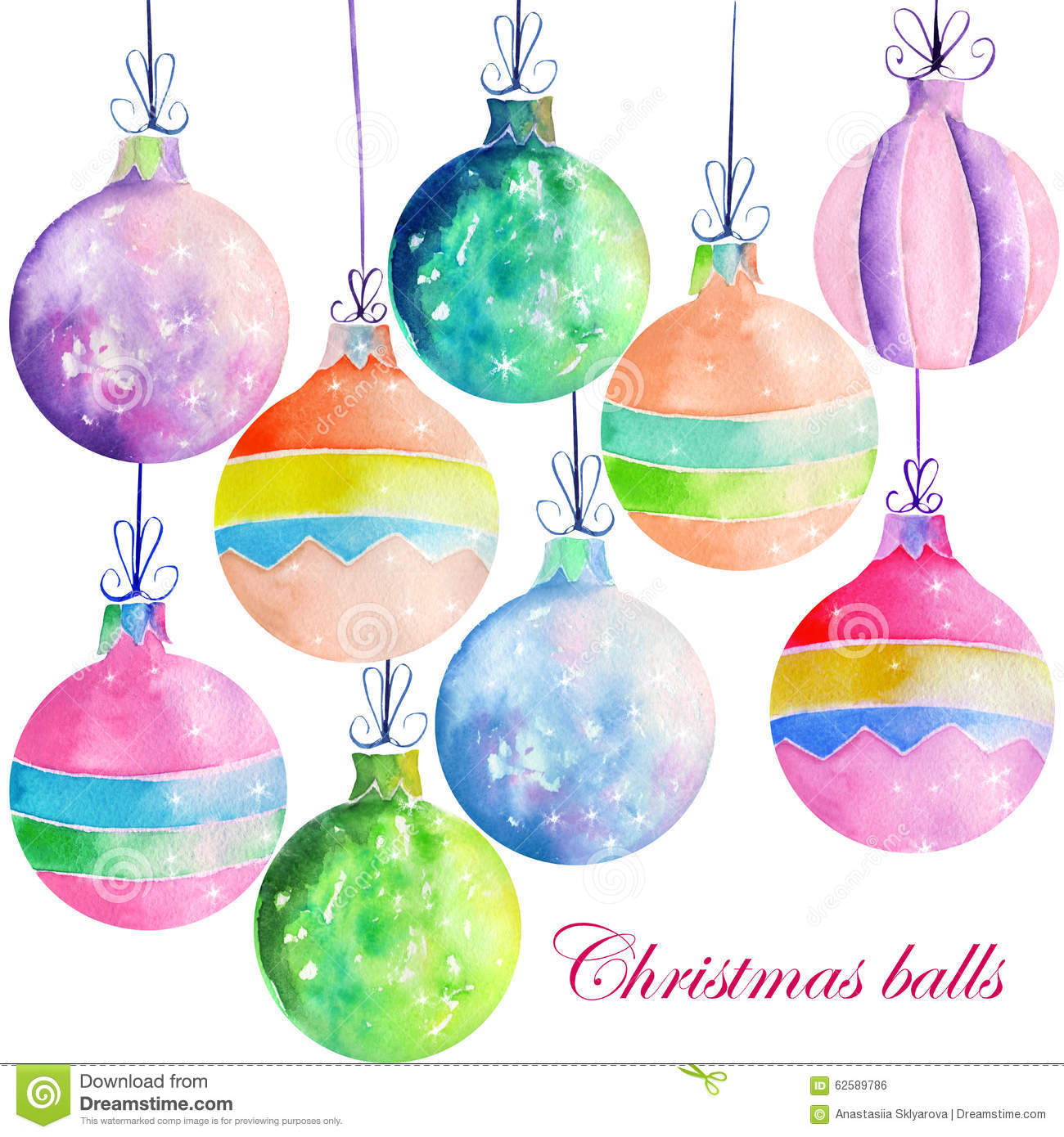 Collection set of watercolor colored christmas