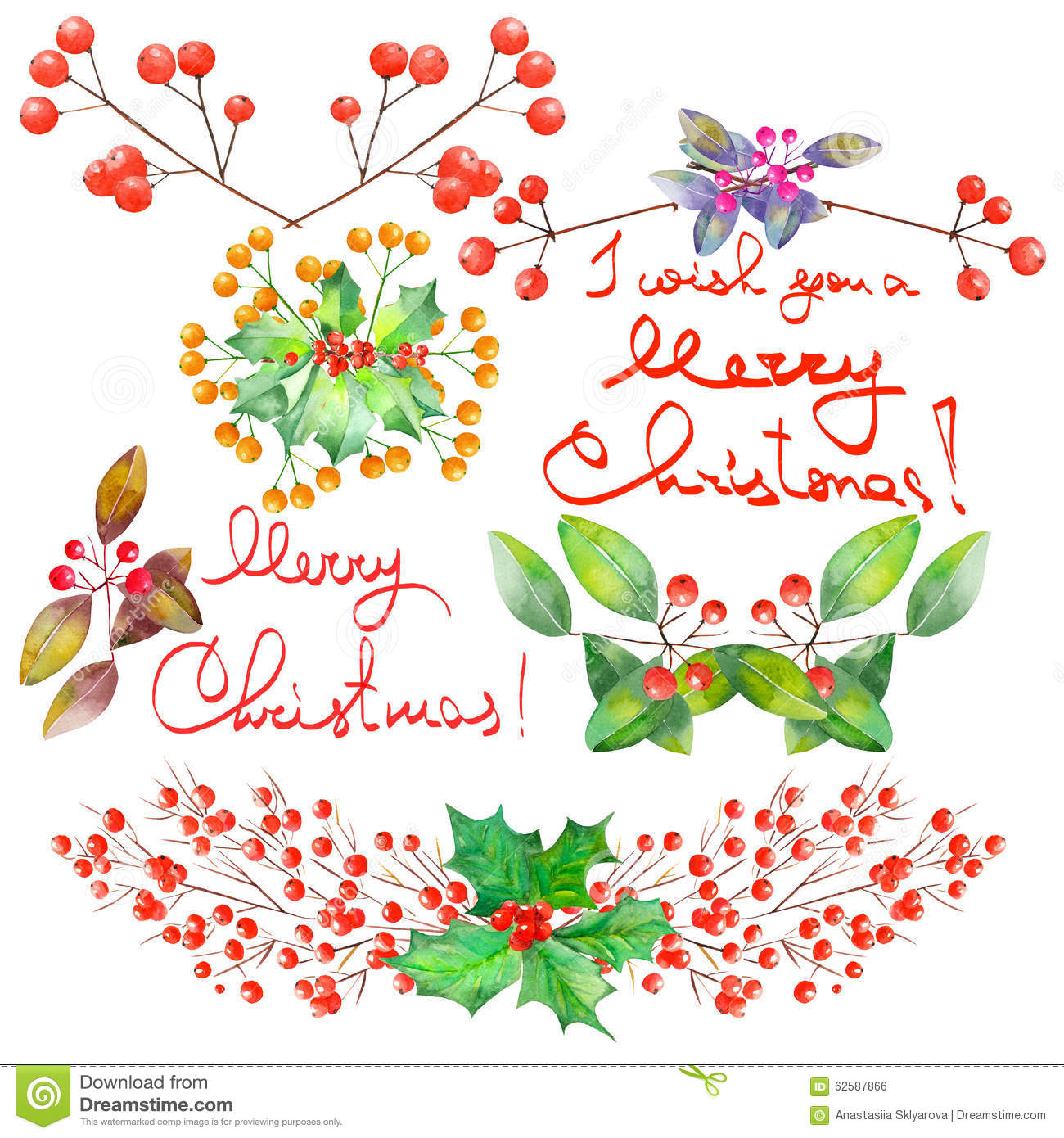 Christmas Tree Decoration Elements: Collection (set) With Watercolor Floral Christmas Elements