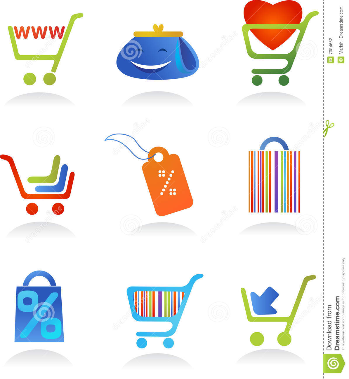 Collection of shopping logos stock photography image 7084662