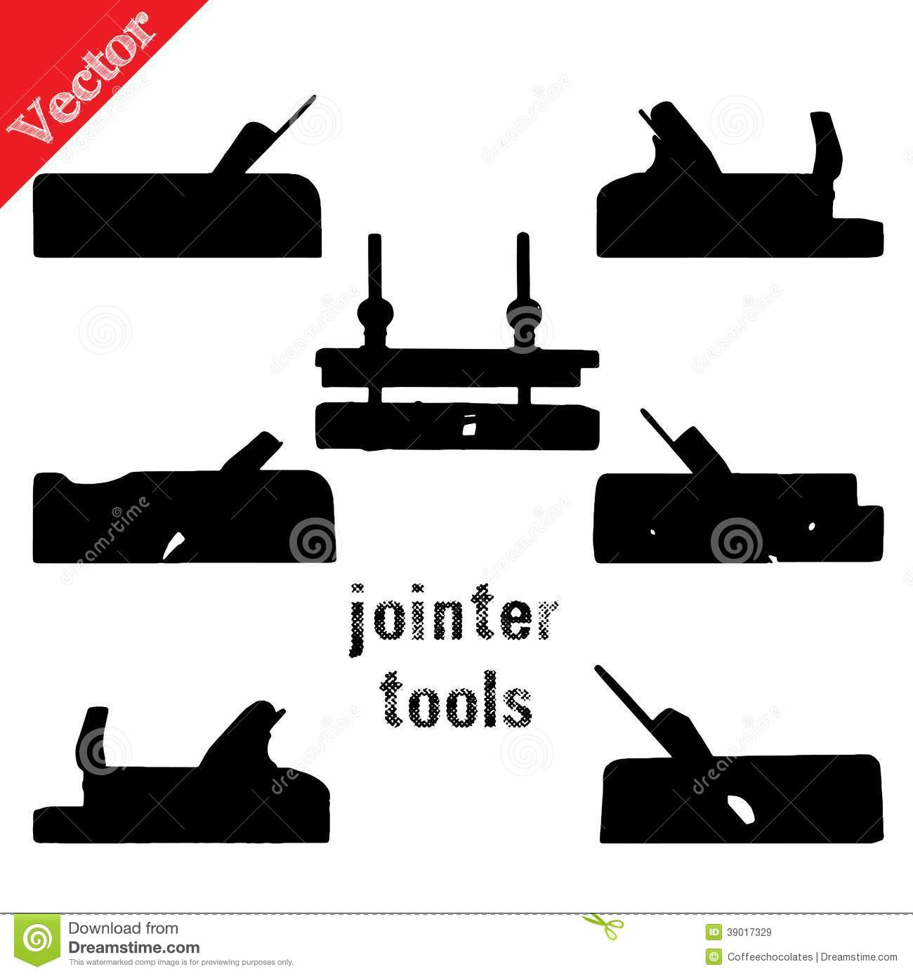 Collection Of Silhouettes Woodworking Tools Stock Vector