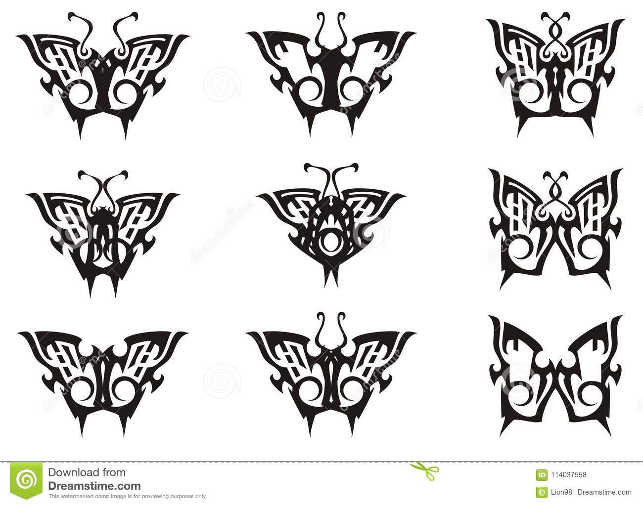 Tribal Butterfly Set In Black And White Tones Stock Vector