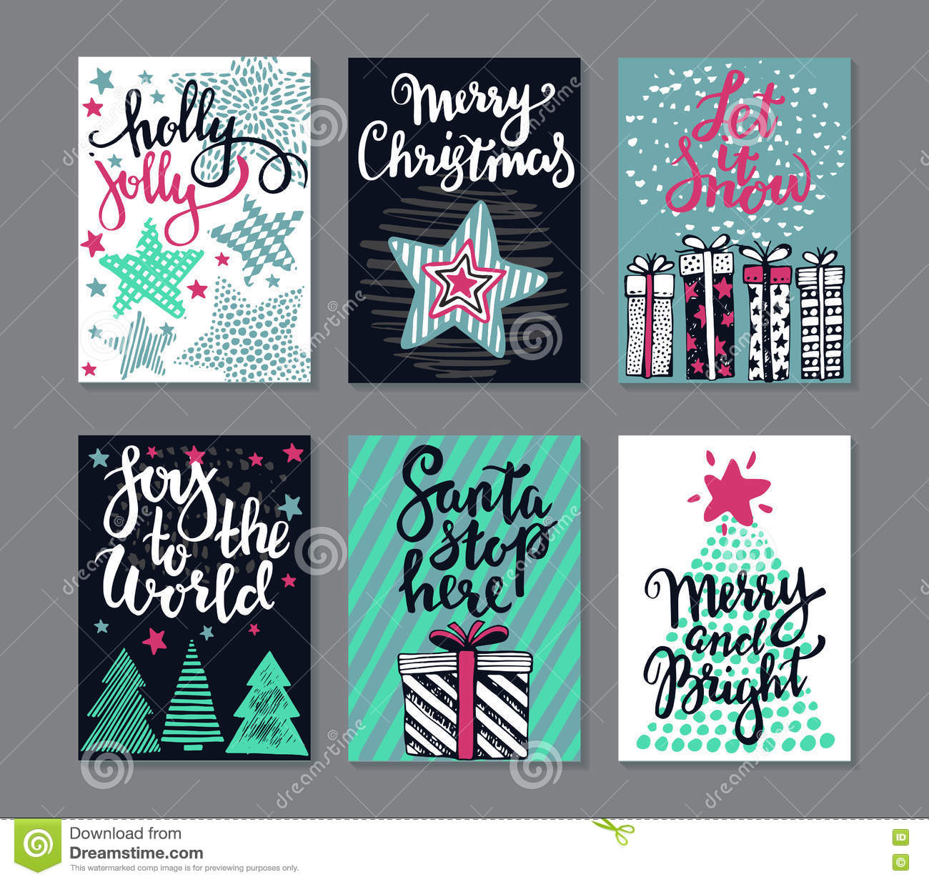 Collection of six Christmas greeting cards.