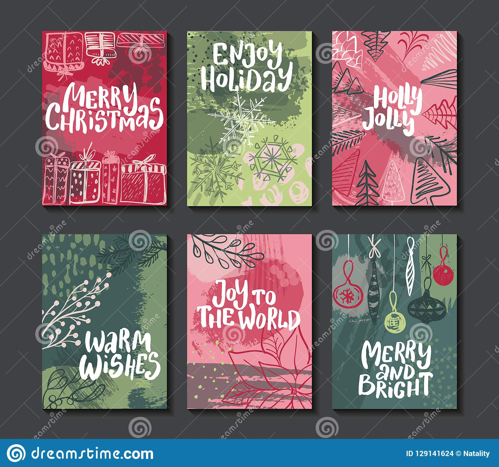 Collection of six colorful vector Christmas cards.