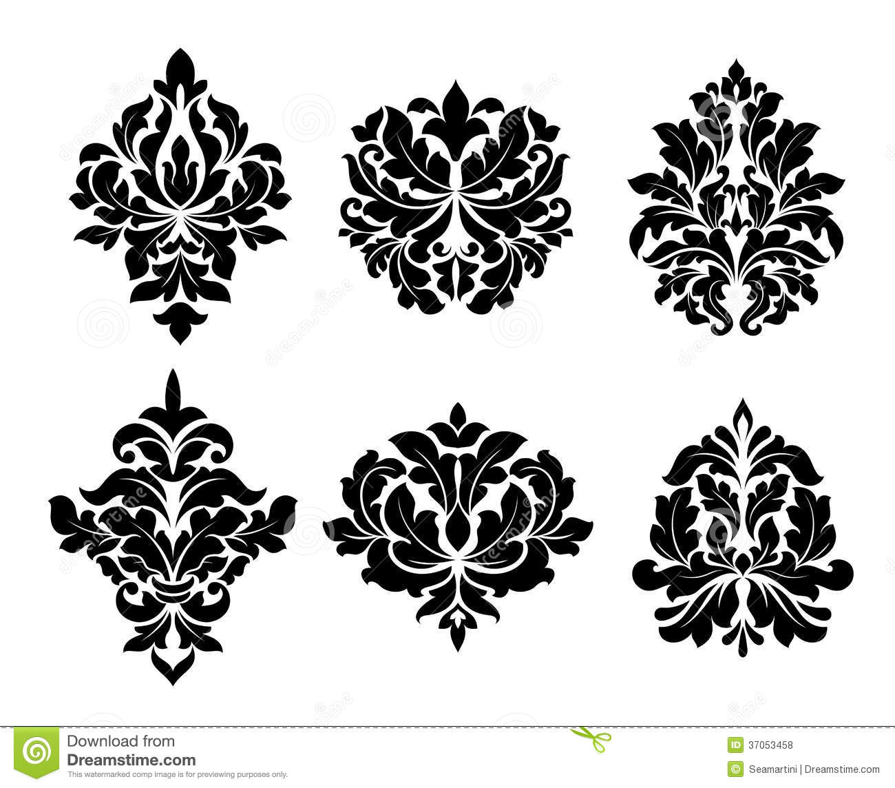 Collection Of Six Different Arabesque Designs Royalty Free