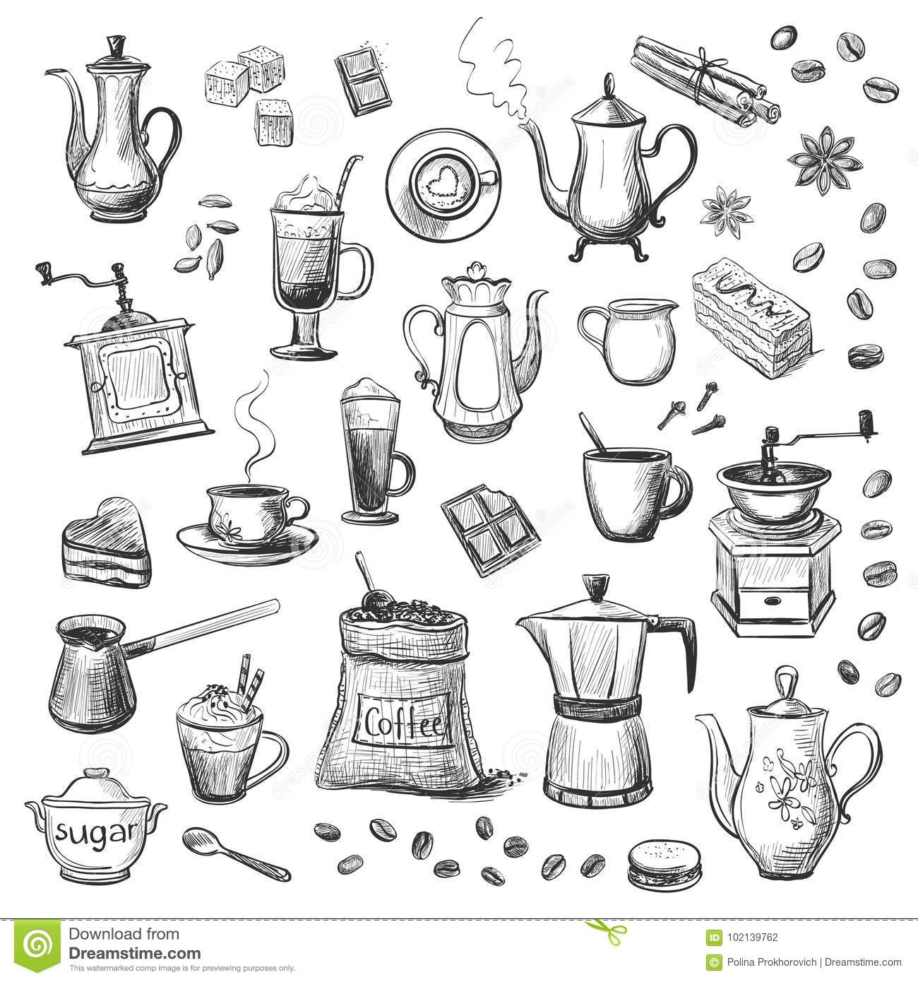 A collection of sketches on the theme of coffee hand drawn