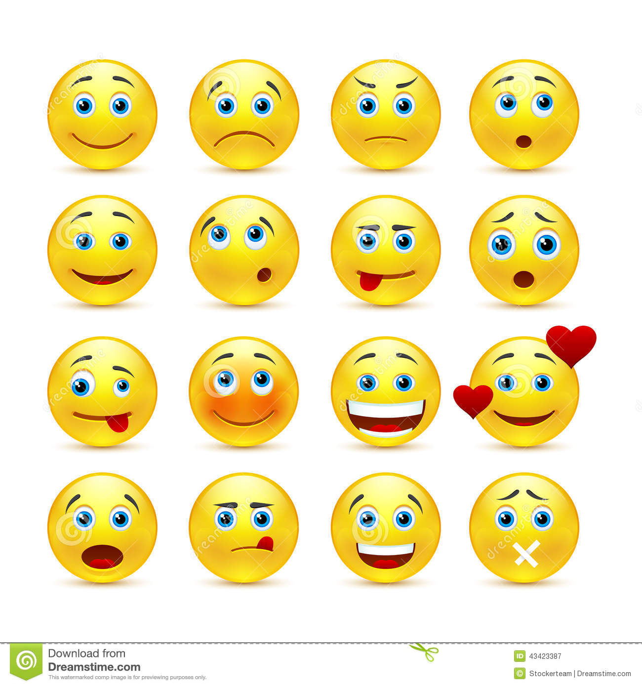 Stock Illustration Collection Smilies Different Emotions Vector Emotional Face Icons Image43423387 on happy cartoon mouth