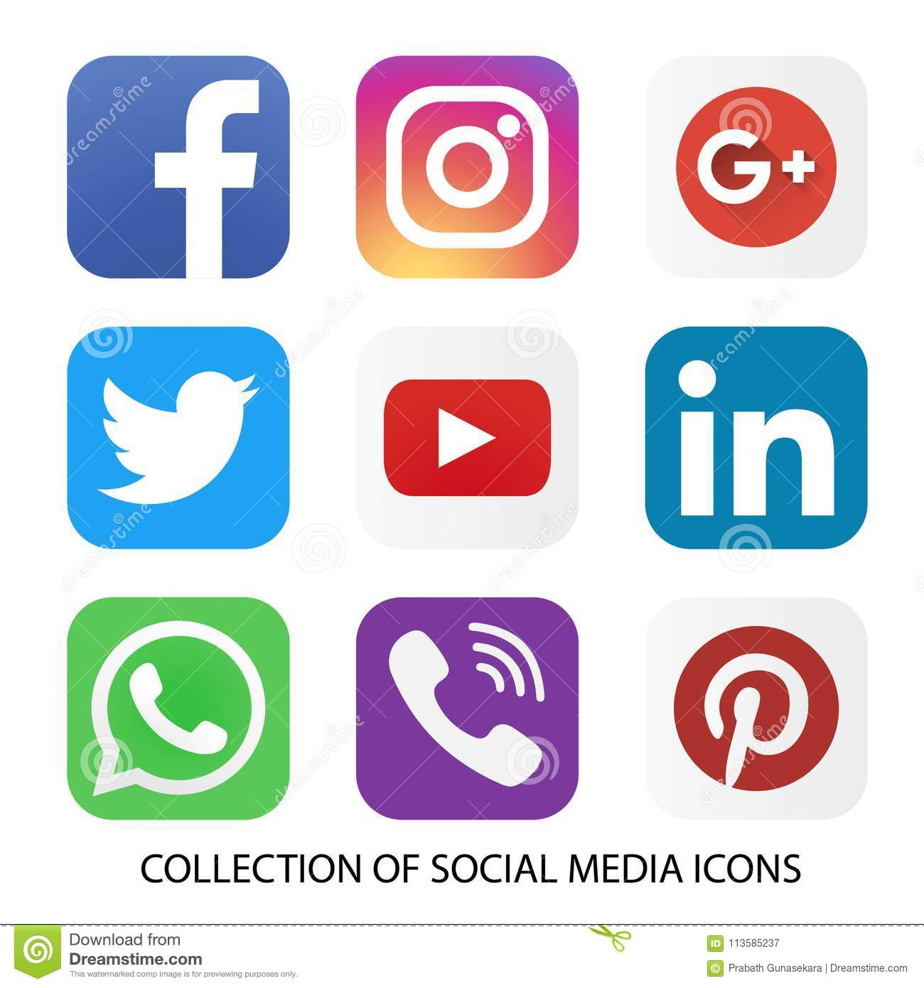collection of social media icons and logos editorial photography
