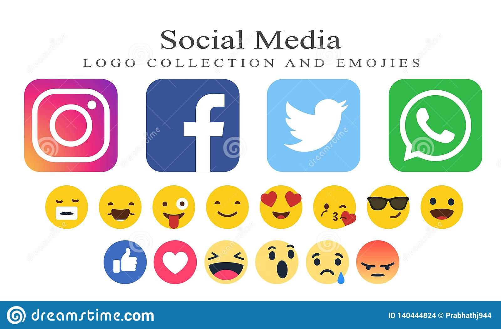 Collection Of Social Media Logos And Emojies Editorial Stock