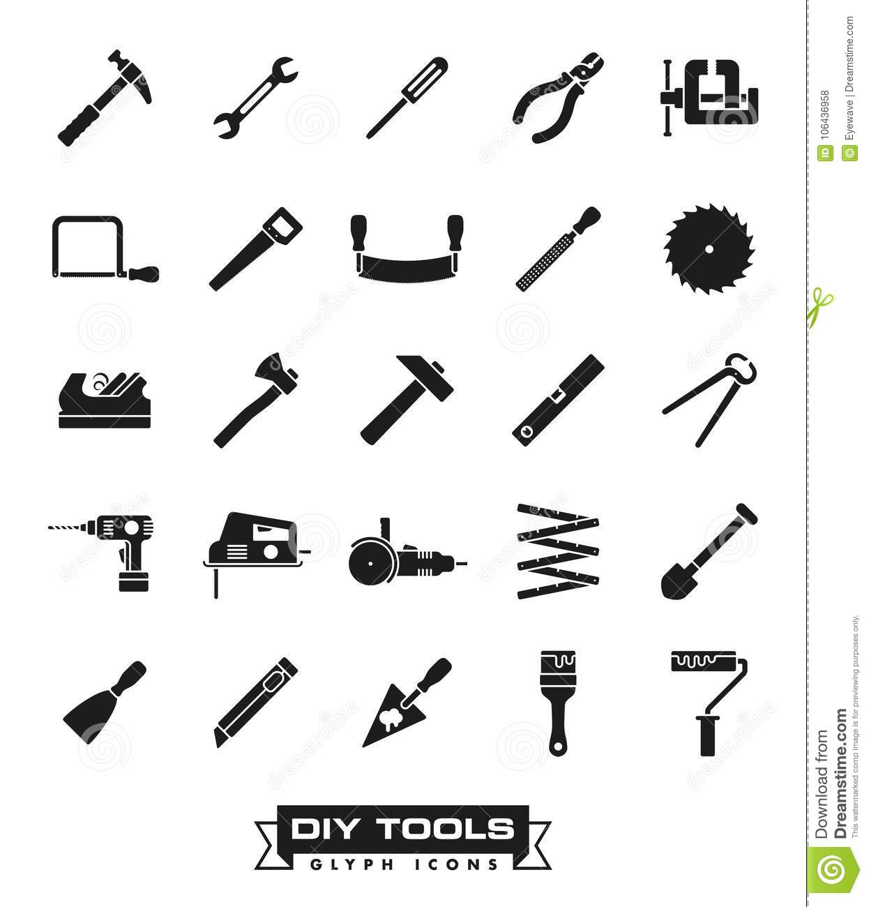 Crafting tools glyph icon set