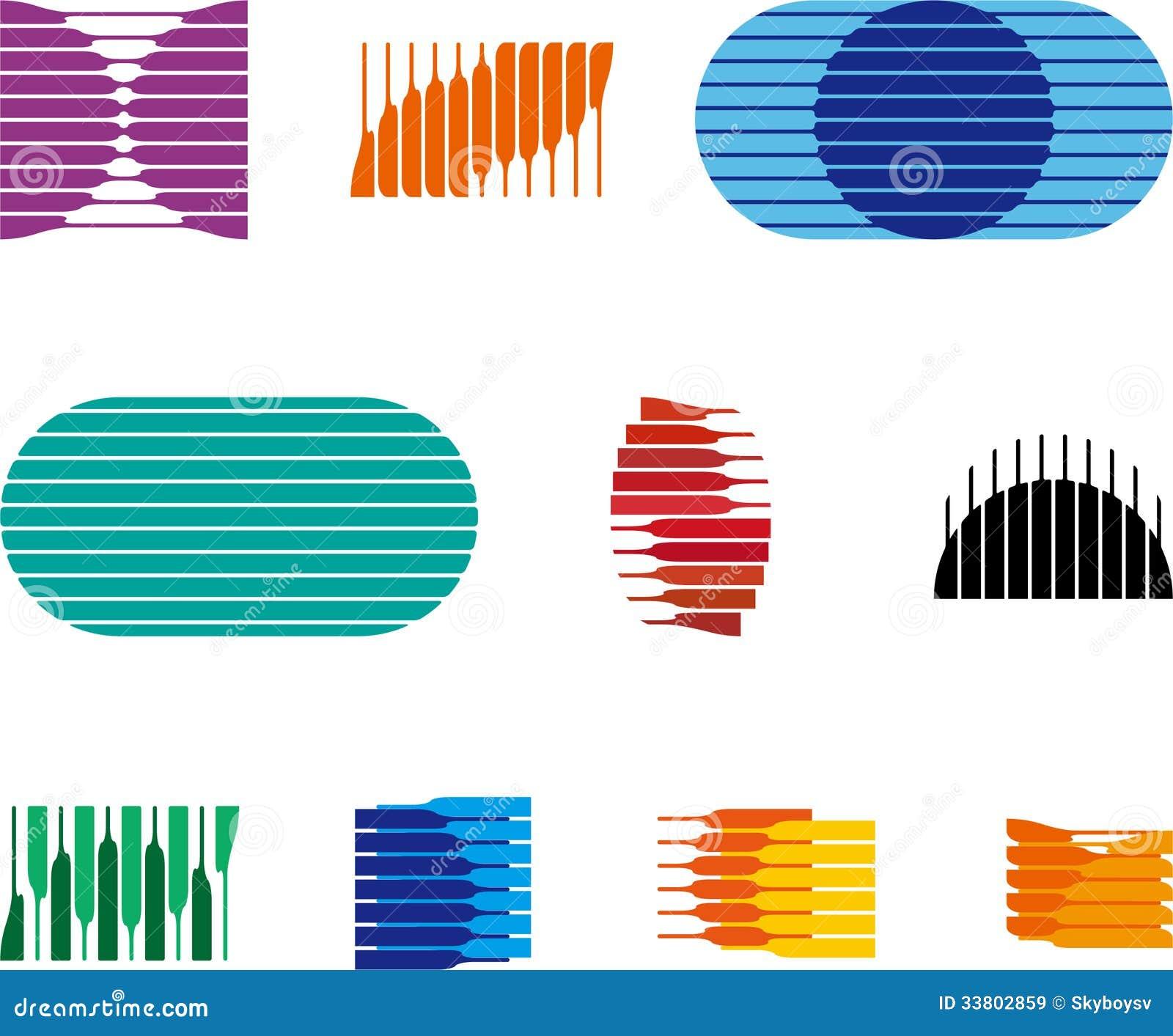 Collection Of Sphere Vector Logo Set Stock Vector
