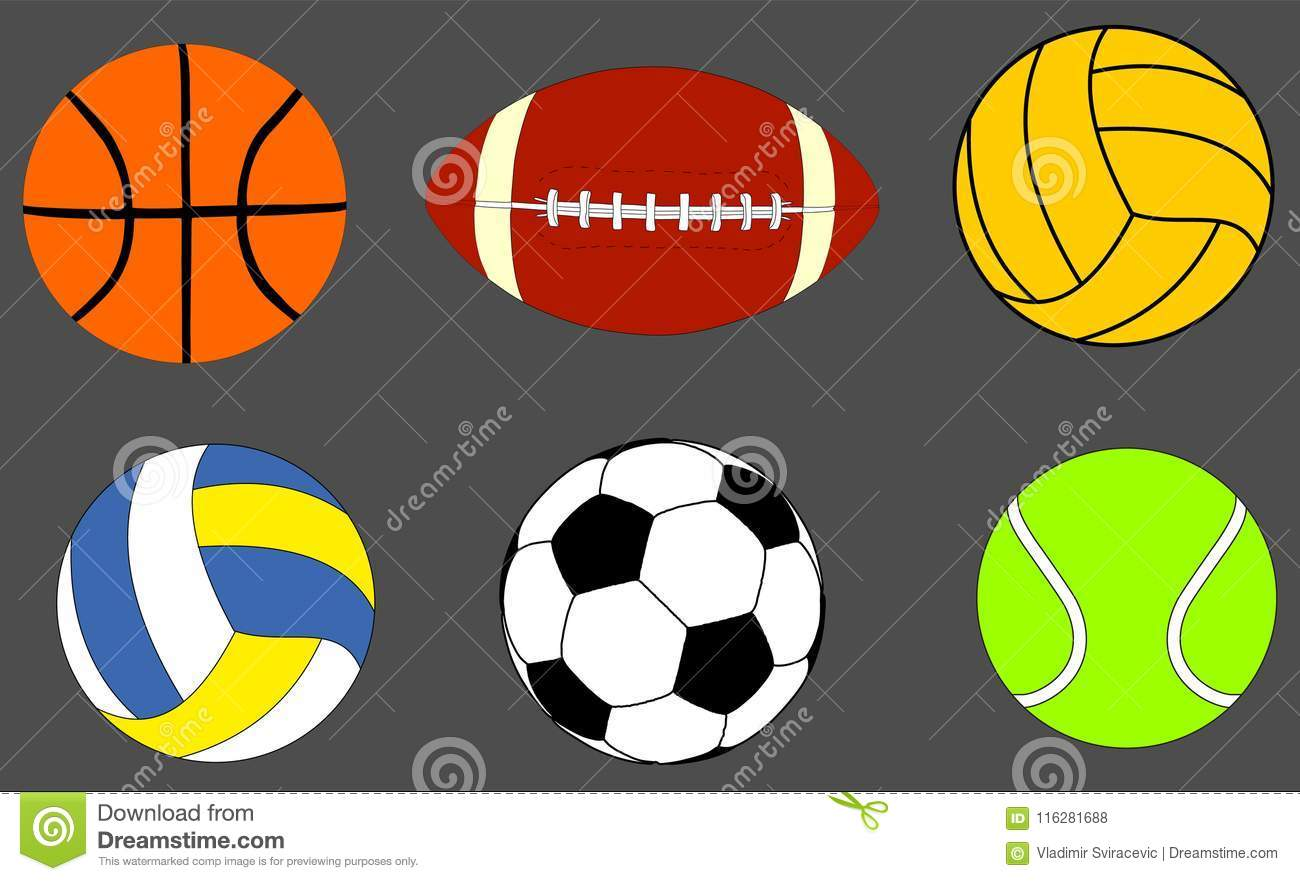 6d01c57ba7393 Collection Of Sports Balls Vector Illustration isolated on background.  Basketball