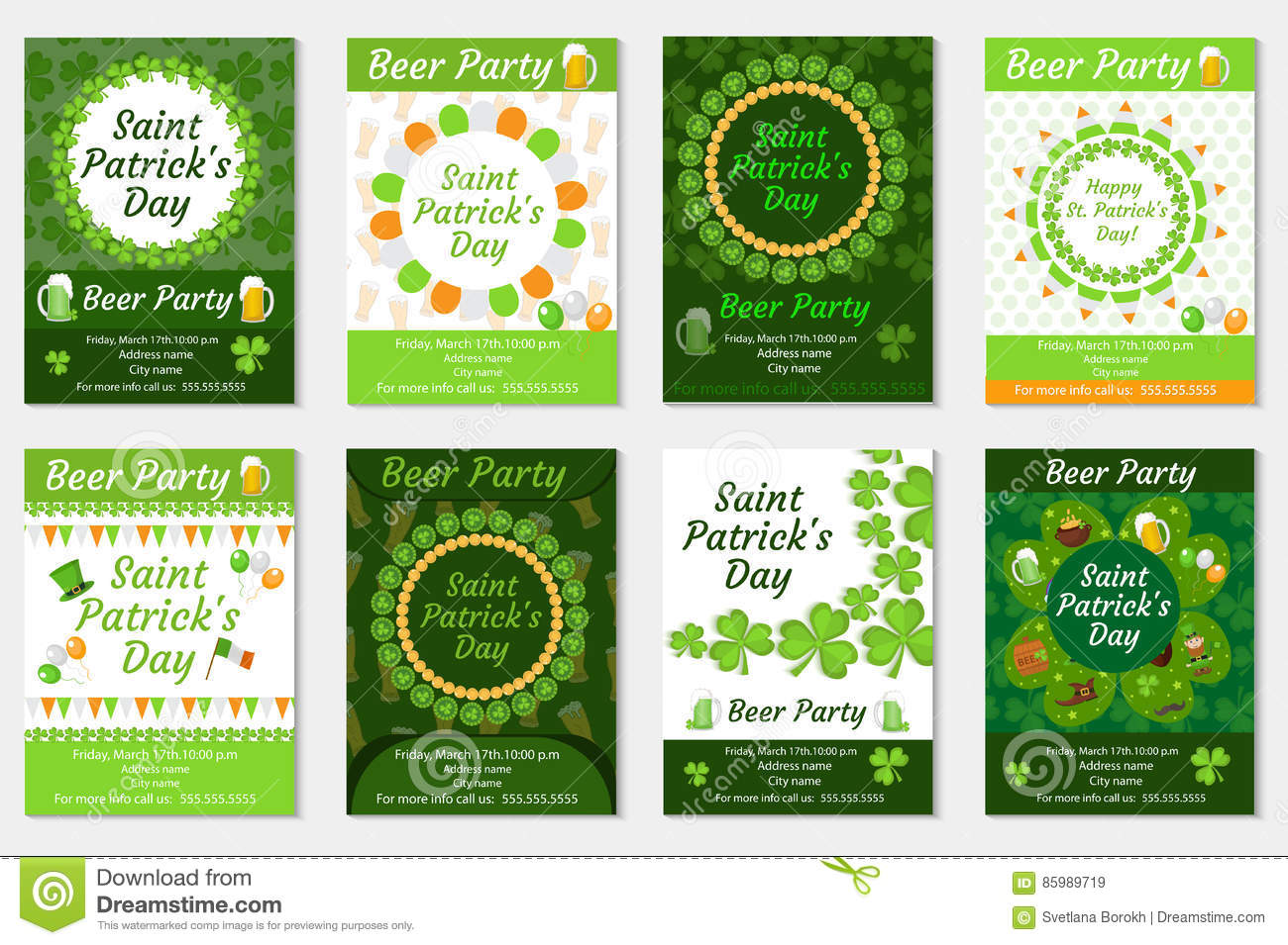 Collection Of St Patricks Day Invitation Poster Flyer Beer Party Set A Template For Your Design With Clover Shamrock Vector Illustration