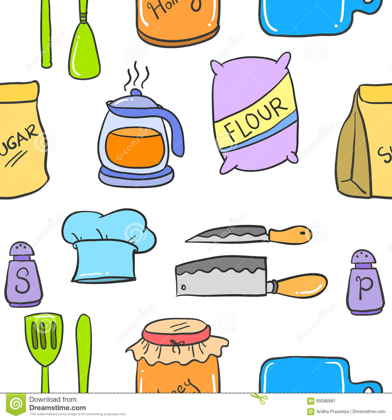 Collection stock kitchen set colorful style stock vector for Kitchen set vector