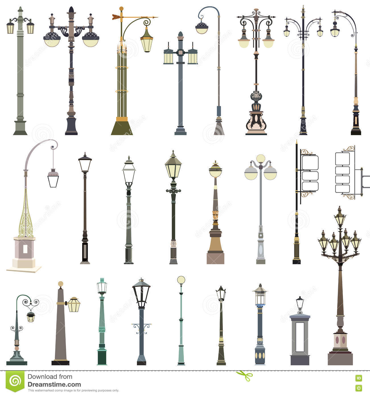 Collection of street lamps