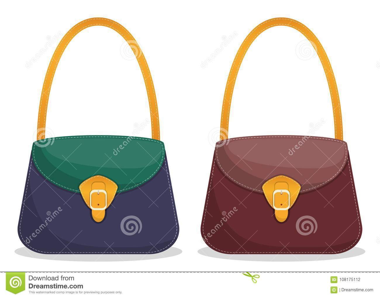 2e7da0b8f4 Collection of stylish colorful leather handbags with white stitching.  Fashionable women s bags isolated on