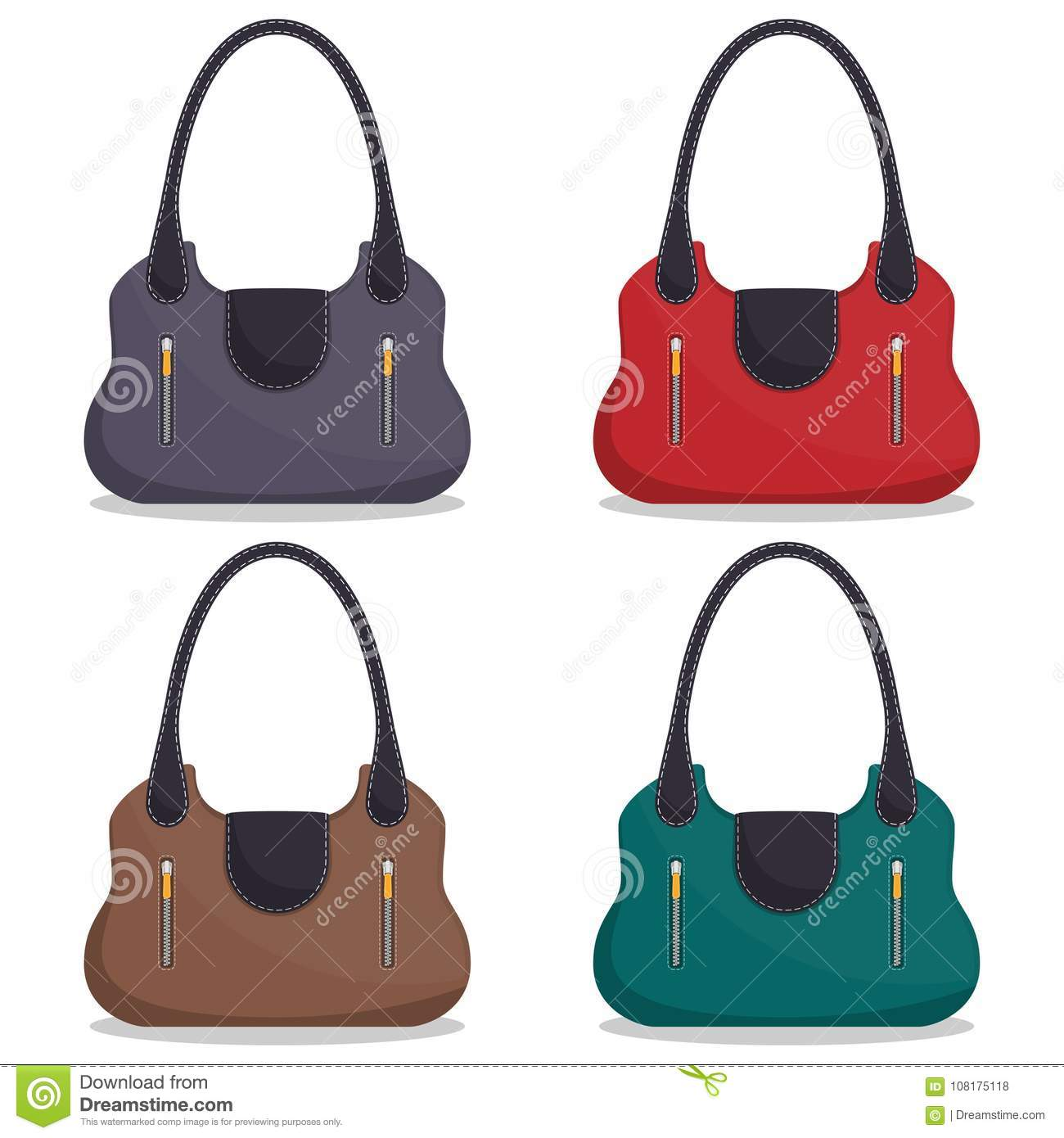 e87e79d31d Collection of stylish colorful leather handbags with white stitching. Woman  bag. Ladies handbags isolated on white background. Fashion accessories.