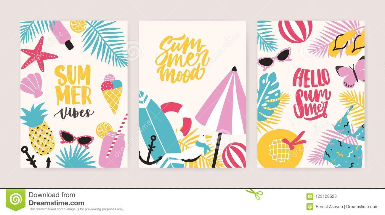 Collection Of Summer Card Or Flyer Templates With Decorative