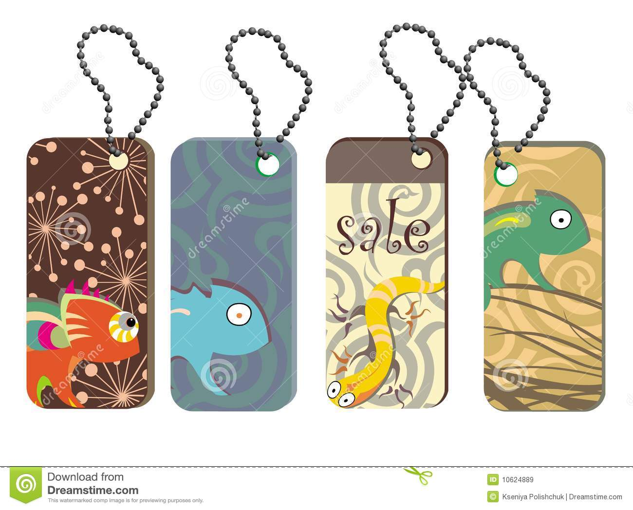 Cute Tags: Collection Tags With Cute Reptiles Royalty Free Stock