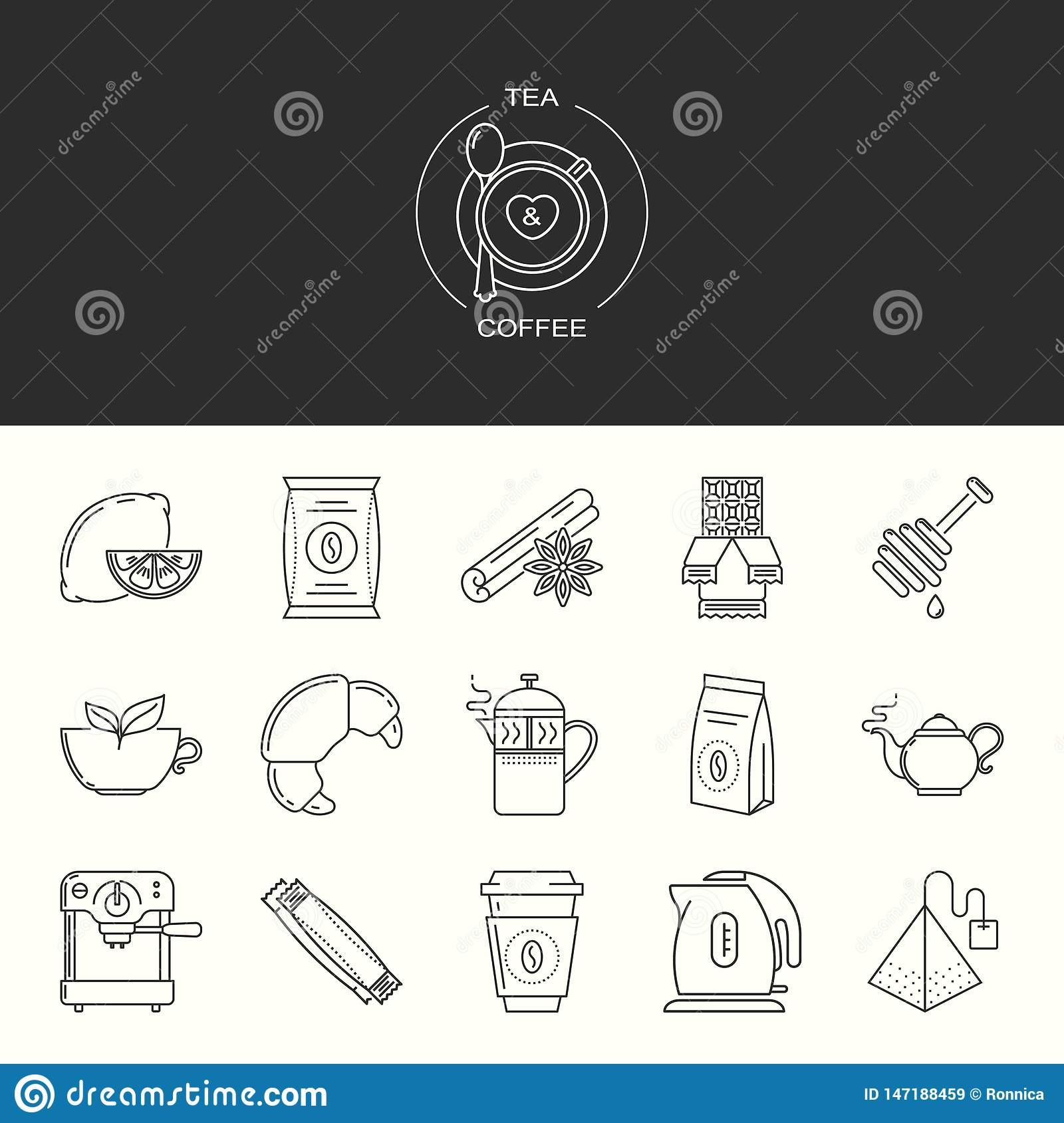 Collection of tea and coffee vector icons