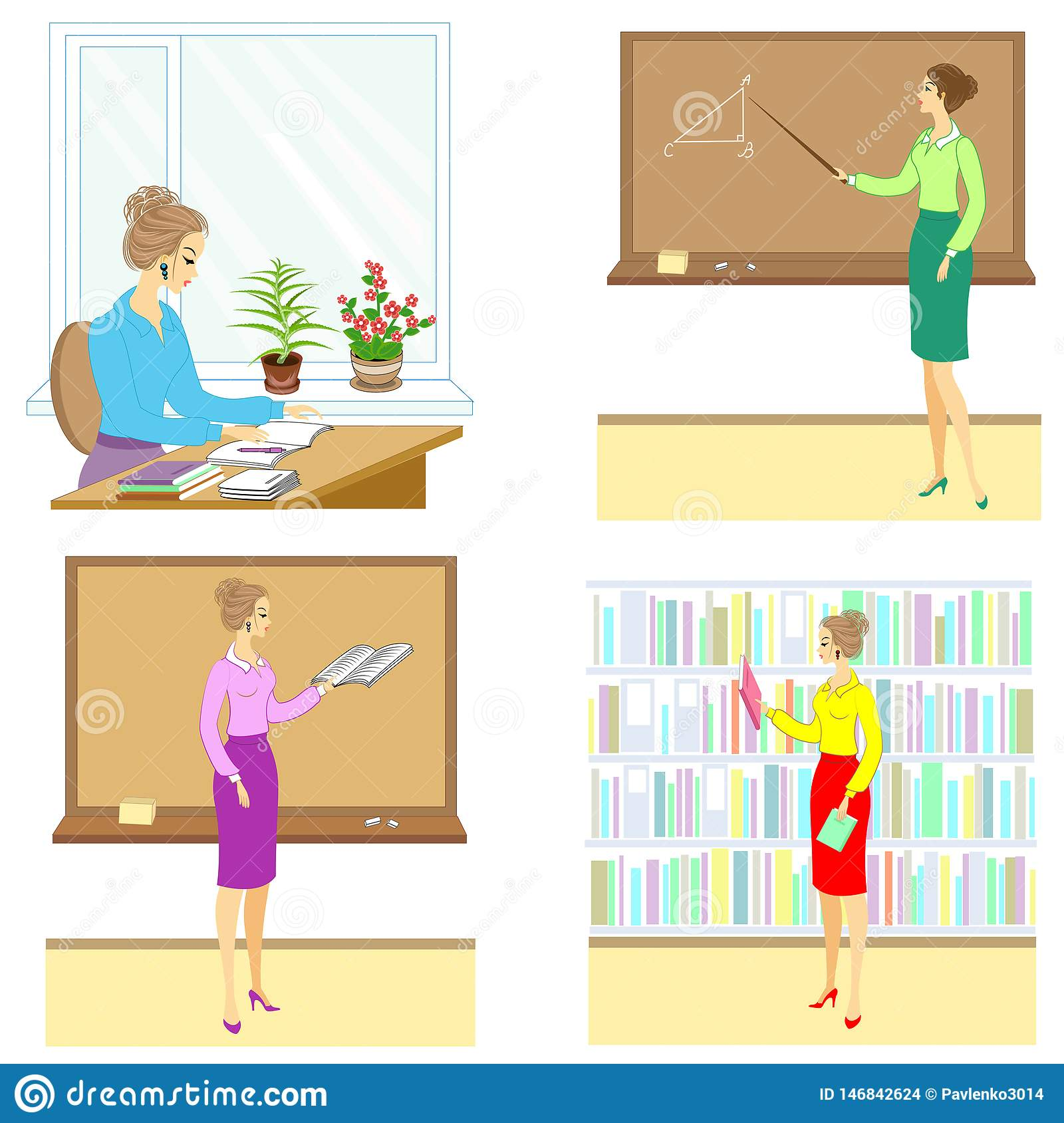 Collection. Teacher at the lesson at school. A woman reads a book, a notebook, shows a pointer to the board, sits at a table, in
