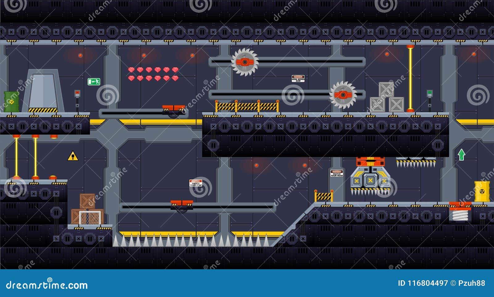 Space Ship Platformer Tileset Stock Vector - Illustration of