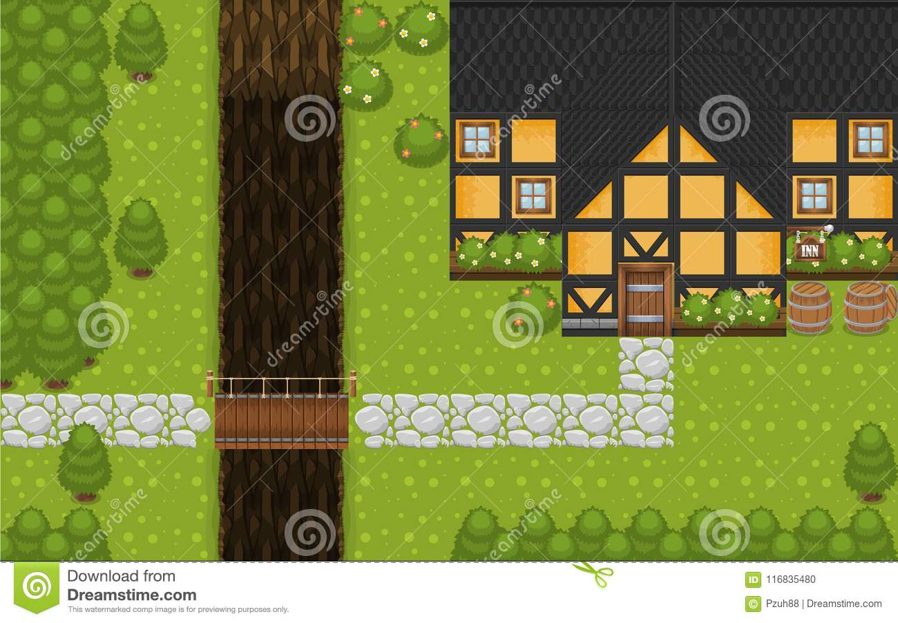 Medieval Village Top Down Game Tileset Stock Vector