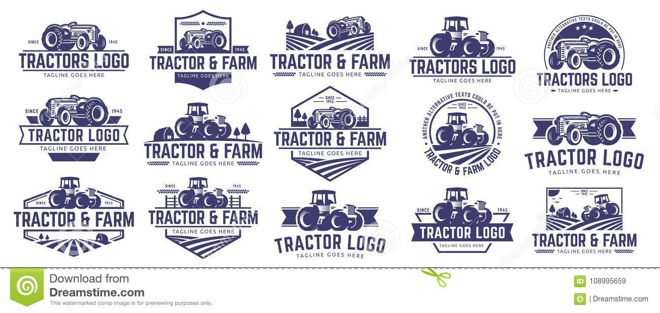 Collection Of Tractor And Farm Logo Template Vector Set Vector